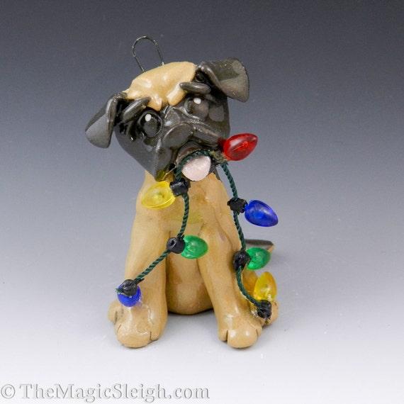 Mastiff Ornament Tan and Black with Christmas Lights Original Sculpture
