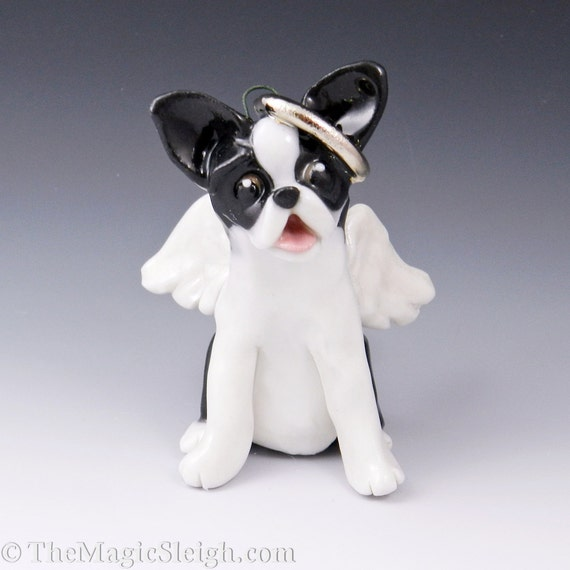 Boston Terrier Angel Ornament Porcelain Sculpture
