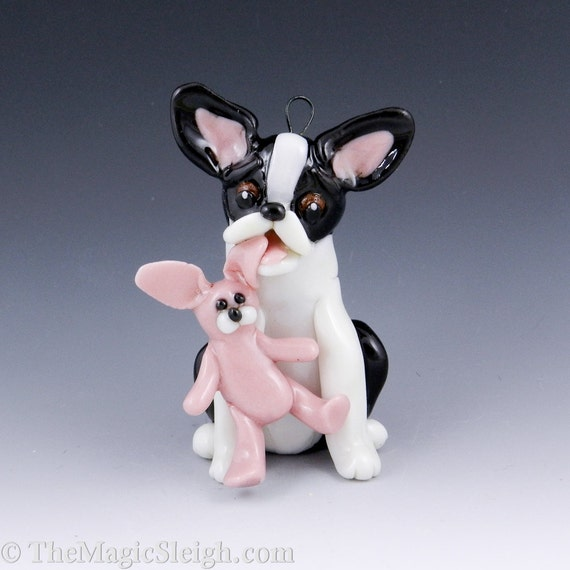 Boston Terrier Ornament with toy Pink Bunny Porcelain