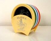 Vintage Hawaii Rainbow Coaster Set