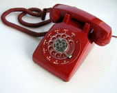 RESERVED for salpseudonym  Working Condition Vintage Red Western Electric Rotary Telephone