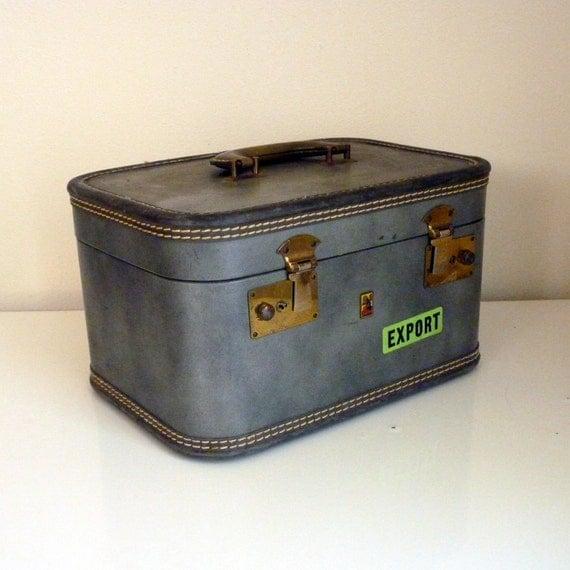 reserved for Leah Vintage 1950s Grey Belber Train Case