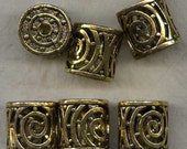 Pewter Beads Antique Gold Cylinder Beads