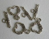 Pewter Beads Silver Plated Heart Shaped Toggle Clasps