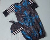 Blue Graphic Cross Infant Baby Layette Gown and Knot Hat