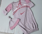 ALABAMA ROLL TIDE Infant Baby Layette Gown and Knot Hat