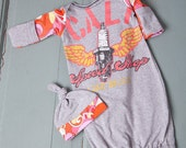CA Speed Shop Long Beach Graphic Tee Infant Baby Layette Gown and Knot Hat