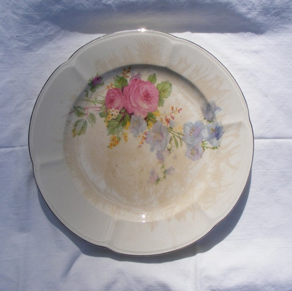 """Vintage 9"""" Dinner Plate With Pink & Blue Flowers"""
