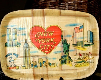 New York City Commemorative Tray with World Trade Center Towers