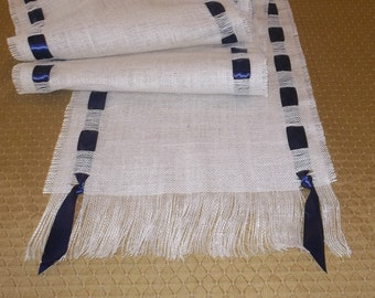 Fringed Ivory Burlap Runner with Satin Ribbon