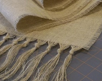Burlap Runner with Hand Knotted Fringe - over 50 color choices