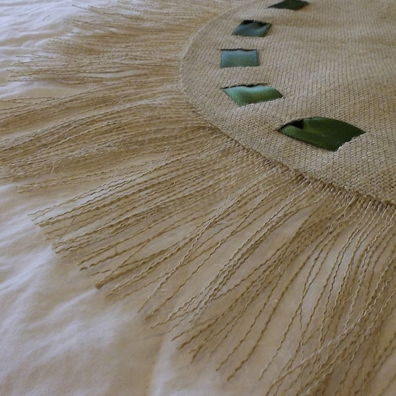 Burlap Table Round with Green Ribbons and Fringe