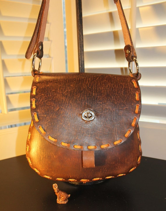 Hand Laced Hippie-style Leather Shoulder Bag