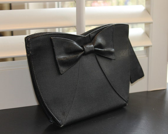 Vintage 1930s Black Clutch With Bow RESERVED For LUCINDA