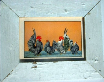 Rooster and Hen Chicken Print Reclaimed Wood Frame CK10