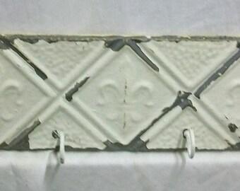 Tin Ceiling Tile Hat/Jewelry/keys Hanger New York Salvage VINTAGE s1583