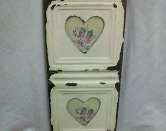 AUTHENTIC Vintage Tin Ceiling Double Heart Picture Frame RECLAIMED CHIC Photo S1622