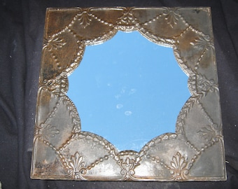 "TIN CEILING Metal Mirror 22.5""x22.5"" Square Decorative Shabby Recycled CHIC S 496"