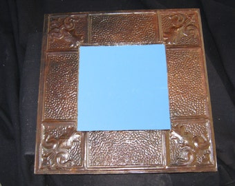 """TIN CEILING Metal Mirror 22.5""""x22.5"""" Square Barnished Shabby Recycled CHIC S 497"""