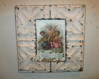 Tin Ceiling Picture Frame RECLAIMED Shabby 5x7 - S 233-12