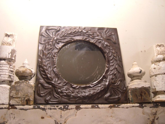 """TIN CEILING Mirror 6"""" Shabby Recycled CHIC s2022"""