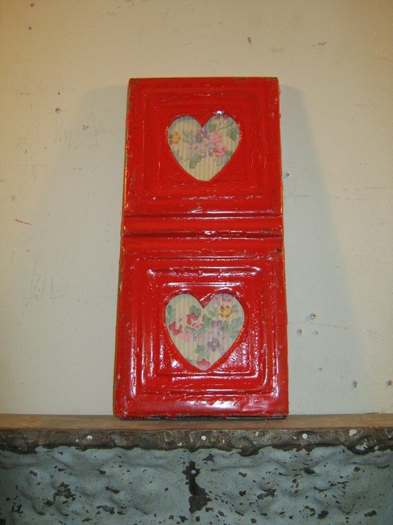 AUTHENTIC Tin Ceiling Double Picture Frame Valentines RECLAIMED Photo S 124-12