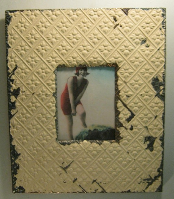 TIN CEILING Picture Frame 8x10 Shabby Recycled chic S-357-12