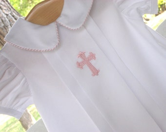 Pleated Pique Christening Gown - Pink, Blue Ivory or White trim for boys or girls