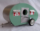 Bird House Camper Travel Trailer Retro Yard Art Birdhouse Aqua Seafoam