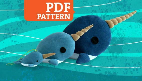 Narwhal PDF Pattern - Stuffed Animal, Softie, Plush - 3 Sizes Included