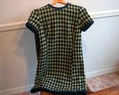 Vintage Woolen Blue and Cream Twiggy Dress