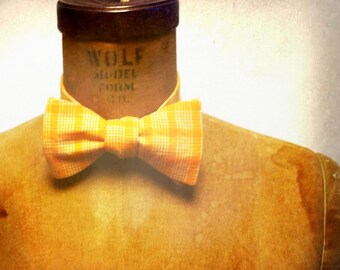 Mens / Boys Bow Tie - Geek Chic Number 60 - Squash Match - Remnant Orange & White Plaid Cotton