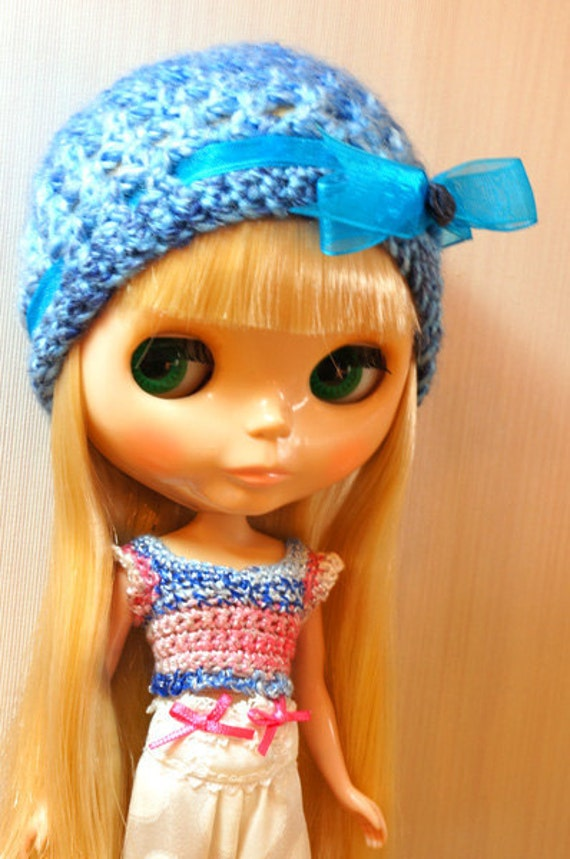 Handmade Blythe hat - Blue with blue ribbon and a royal blue colour rose