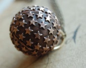 galileo - dimensional vintage gingerbread brass sphere with stars chain necklace