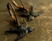 blackbird - hand aged blackened brass blackbird dangle earrings