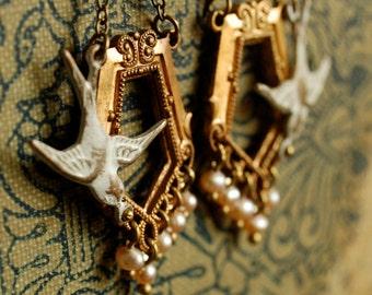evangeline - vintage brass whitewashed sparrow freshwater pearl dangle earrings