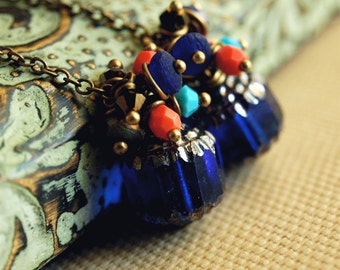 moroccan beaded cluster dangle earrings cobalt blue czech glass swarovski crystal - moroccan nights
