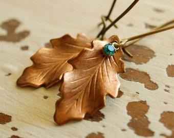 oak leaf earrings, autumn jewelry, realistic copper leaf, nature jewelry, woodland dangles