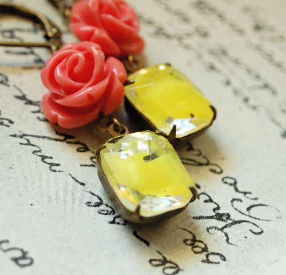 lizette - vintage inspired carved rose yellow givre rhinestone earrings