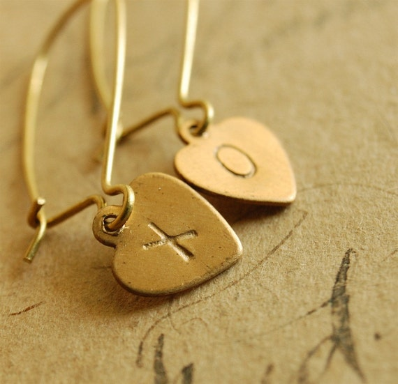 hugs and kisses - stamped brass heart earrings