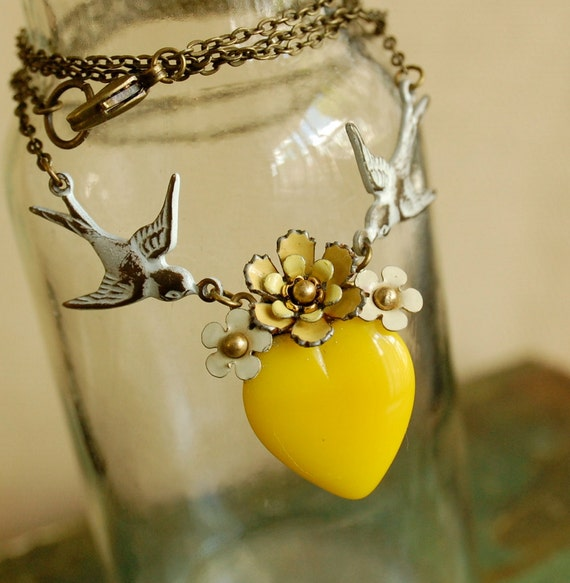 a delicate tattoo - vintage enamel flower and yellow glass heart necklace on brass chain