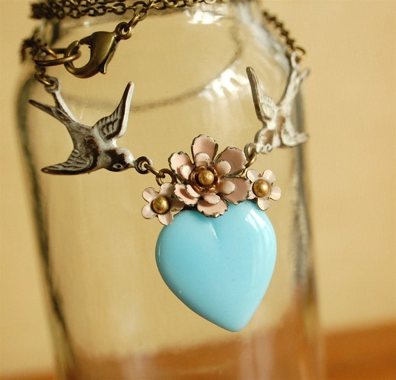 a delicate tattoo (pink on blue) - vintage enamel flower blue glass heart necklace
