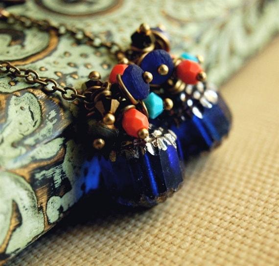 moroccan beaded cluster dangle earrings cobalt blue czech glass swarovski crystal - moroccan nights