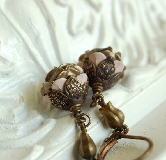 miss jane bennet - vintage enamel flower jane austen inspired earrings