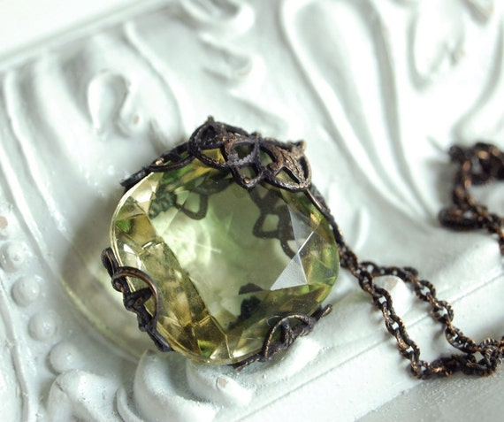 the heirloom (lemon ice) - ornate vintage glass hand aged brass filigree wrapped pendant necklace