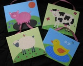 EI-EI-O - set of 4 8inx10in handpainted canvases