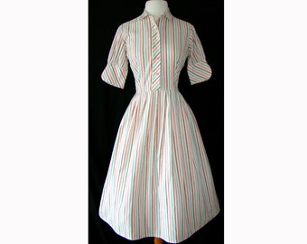 Striped 1950's Shirtwaist 50s Party Dress