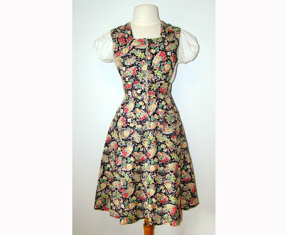 Novelty Print 1940's Pinafore Dress 40s