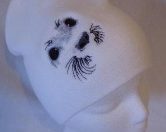 Harp Baby Seal Face Beanie Skullcap Hat