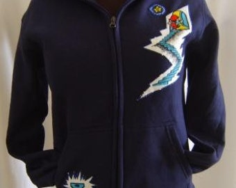 Navy Jacket with Mario Key to Locked Door from up-cycled vintage fabric